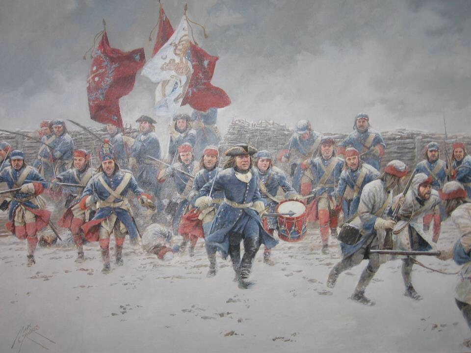 Painting of a re-enacted battle featuring the owners of Tailor & Arms, Peter & Robin
